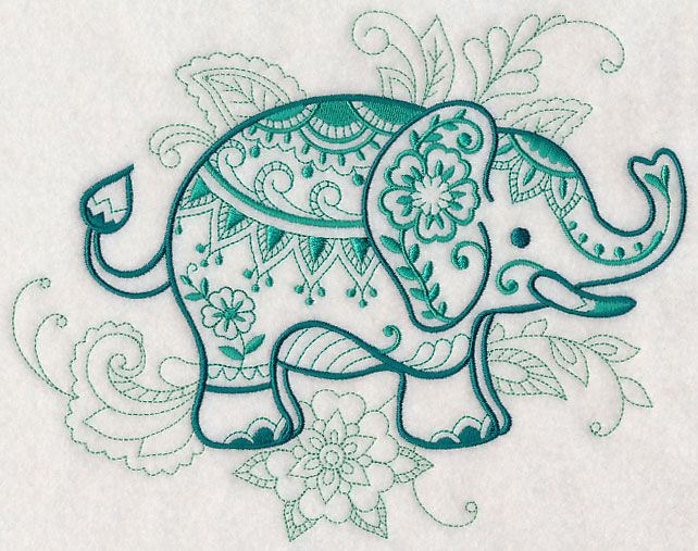 Mehndi Elephant design (L4616) from www.Emblibrary.com