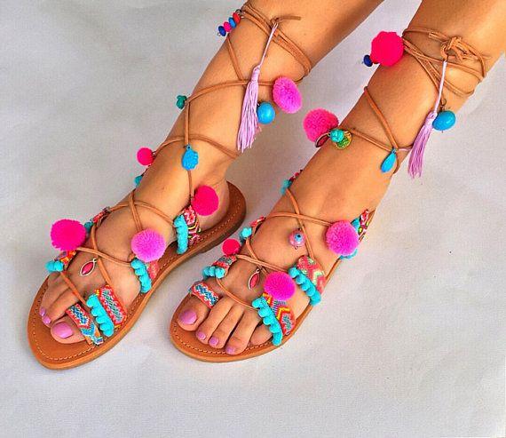 Tie Up Pom Pom Sandals  ''Lollipop'' Leather