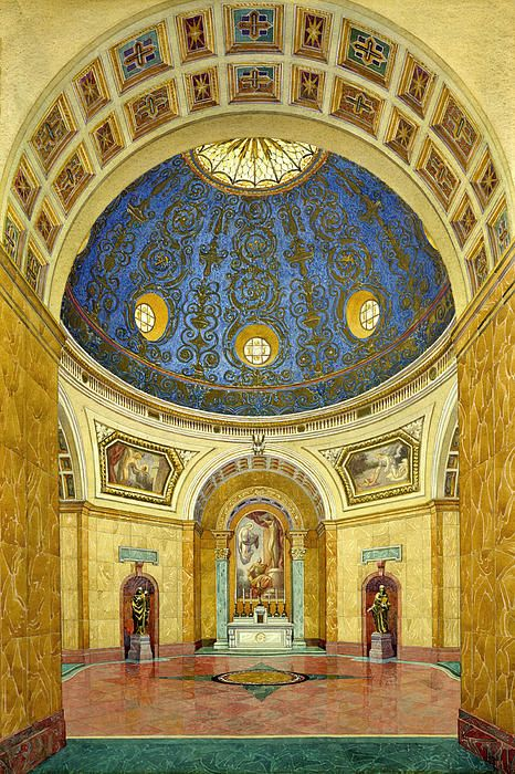 Historic Architectural Rendering of Church Interior Painting