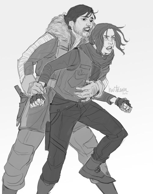 'Jyn, shake out of it!' 'You!… don't!… undarstand!' 'Please stop that! Before you got hurt! You can't just jump into the fight like this!' 'Watch me, Cassian!' 'You gonna hurt yourself! I won't let you!' 'Let me go!' 'No if you keep acting like this....
