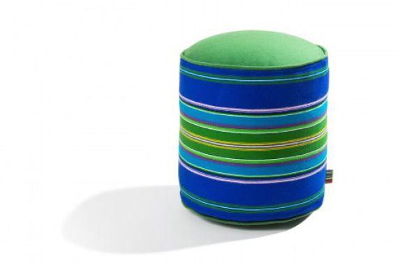 Pufa wełniana folk 45cm niebiesko-zielona