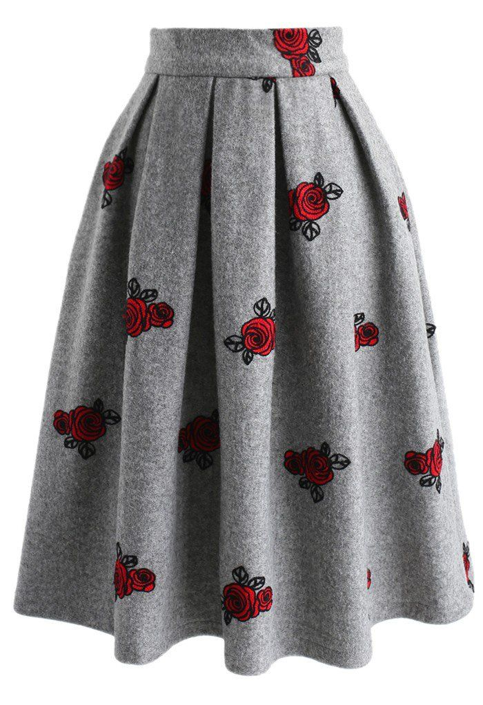 Dancing Roses Embroidered Wool-blend Skirt in Grey - New Arrivals - Retro, Indie and Unique Fashion