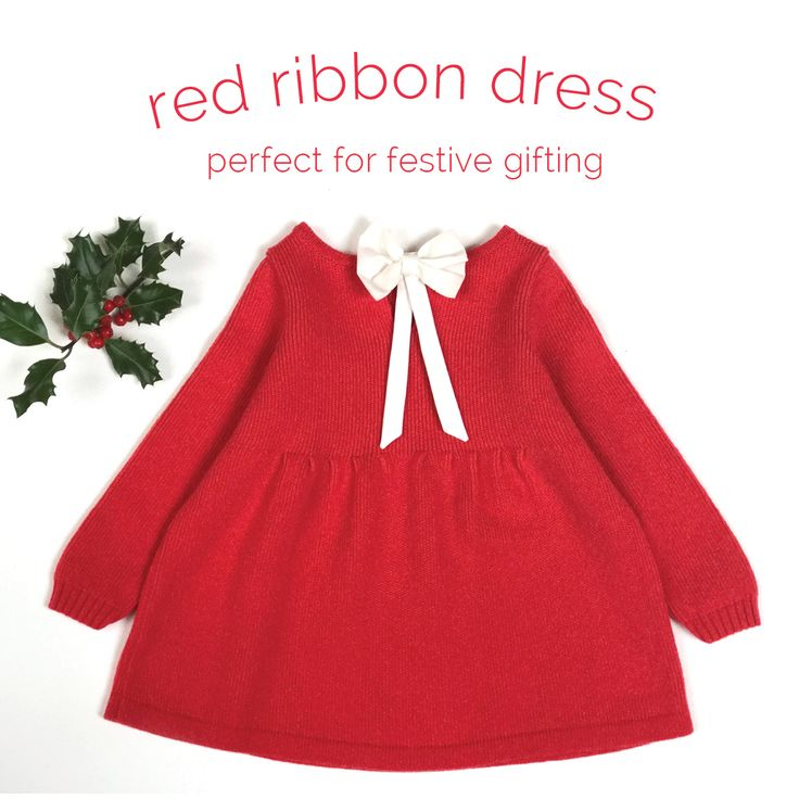Softest lambswool knitted red dress with bow embellishment. 6months - 8years. From €85. Free gift box.