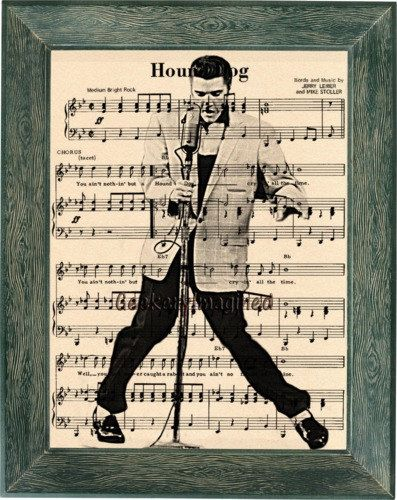Elvis Presley art, Elvis Presley music sheet art, Elvis Presley print, Elvis Presley music sheet print, office decor, wall art