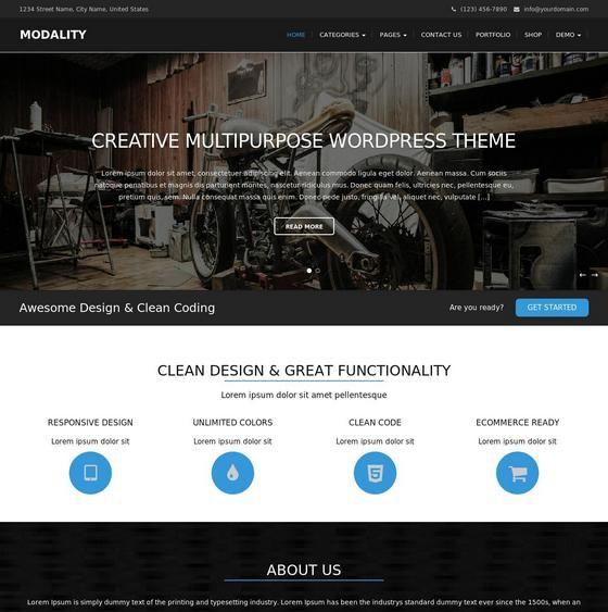 Modality шаблон WordPress