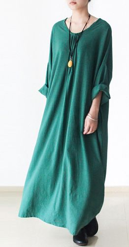 Green linen dresses long sleeves caftans cotton maxi dress