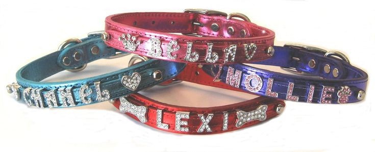"""Best Seller Bling Personalized Dog Collar Leather 3/4"""" Signature Leather Made in the USA Rich Vibrant Metallic and Matte Colors"""