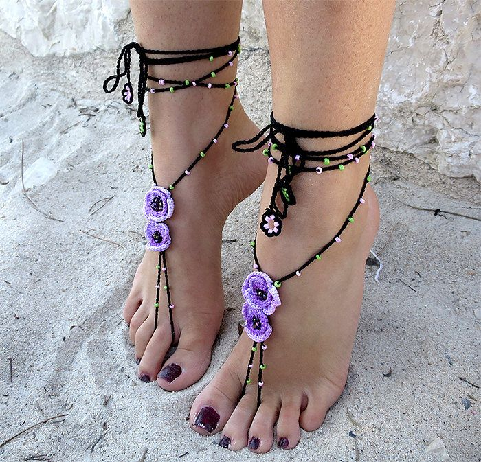 Barefoot sandals lace crochet.Jewelery crochet for beach holiday.Boho style jewelry.Anklets crochet.Black crochet jewelry.