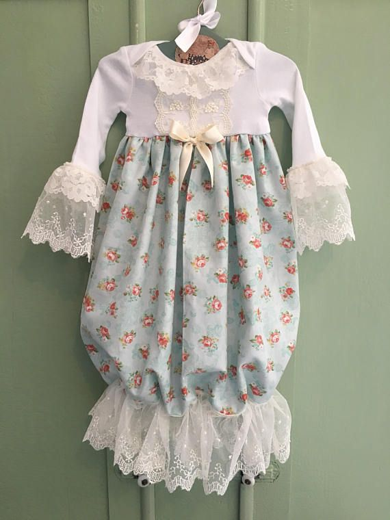 4753bb3b7b1e6 Fancy Newborn Coming Home Outfit, Vintage Lace Baby Gown and Headband,  Floral Take Home Outfit, Baby Hospital Outfit, Boutique Baby Dress