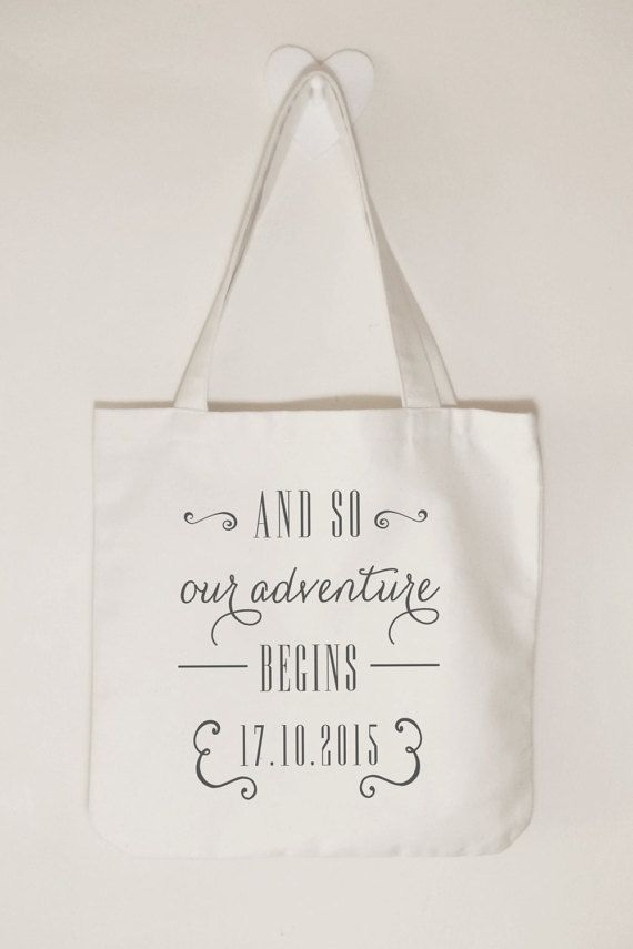 And so our adventure begins, Wedding tote bag, Wedding gift idea, Cotton canvas…