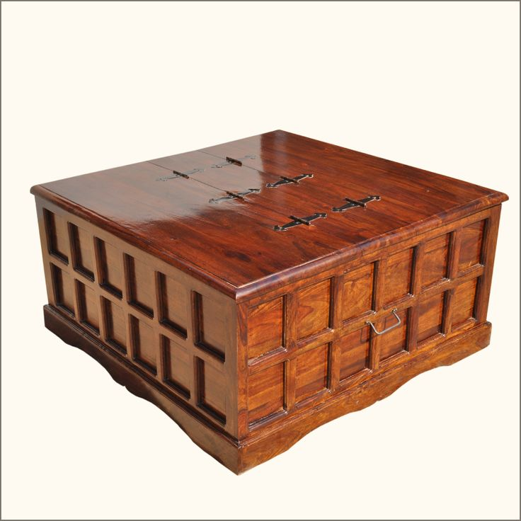 Beaufort Solid Wood Square Coffee Cocktail Table Storage Trunk Chest Santa Cruz Cocktails And