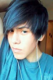 emo boy with blue hair