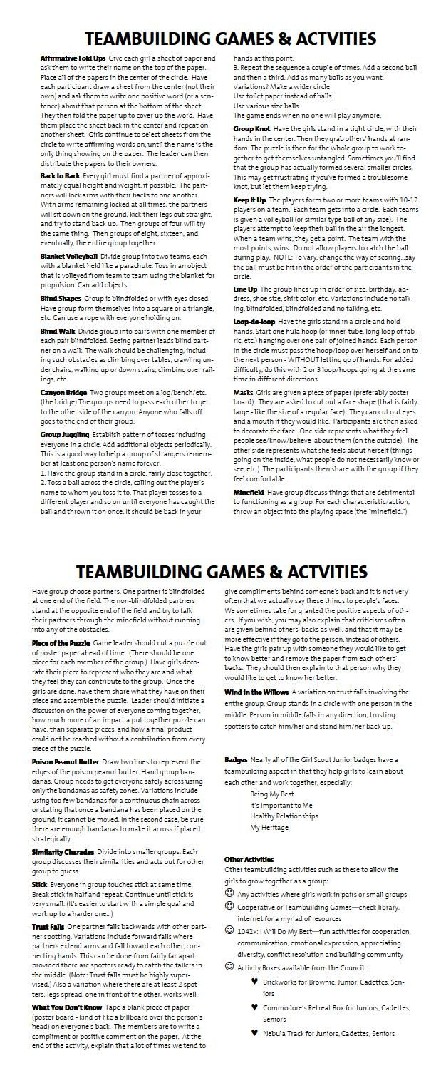 TEAM BUILDING GAMES: good for first couple days or squad building with Cheer