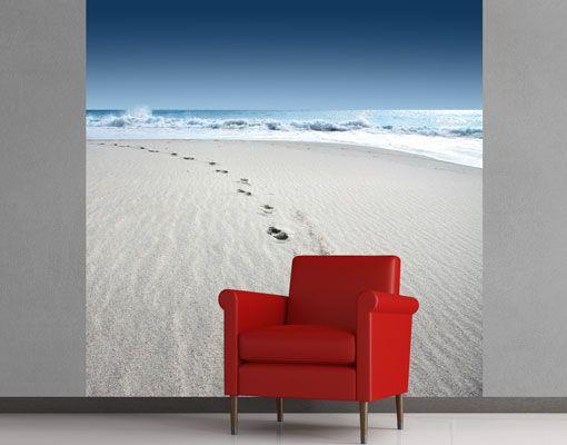 Vlies fotobehang Voetafdrukken in het zand voetafdrukken