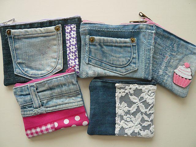 Allerlei verschillende soorten portemonnees van spijkerstof, uniek www.rits-rats.nl