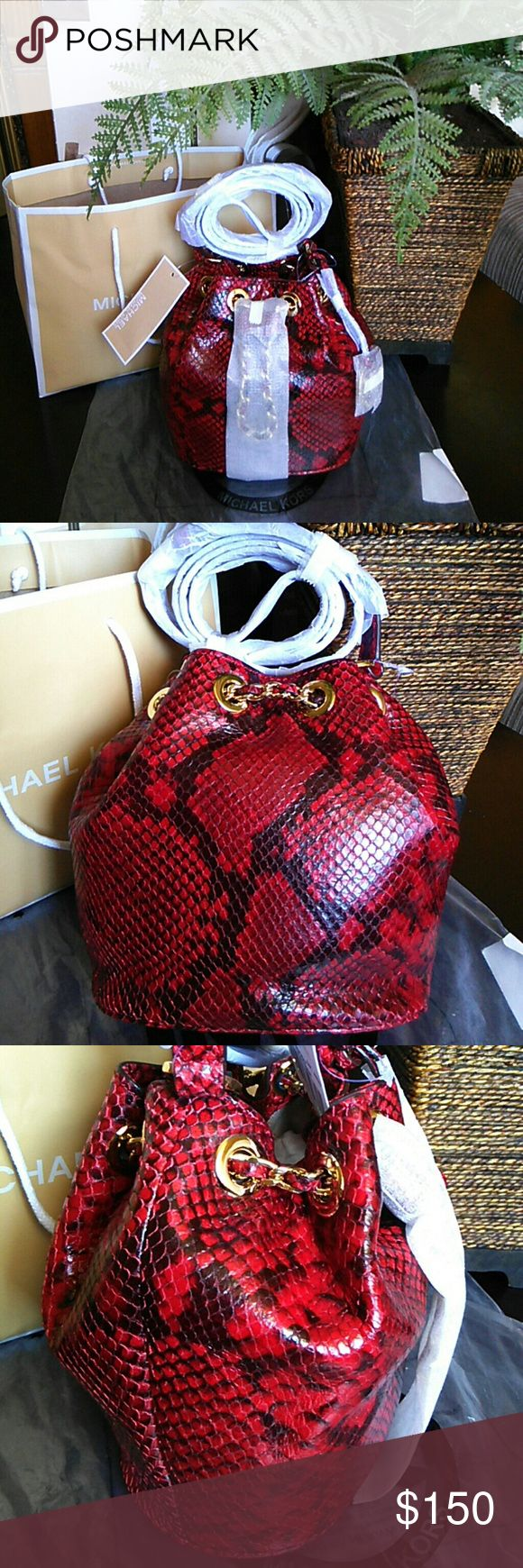 AUTHENTIC MICHAEL KORS DRAWSTRING CROSSBODY BAG FRANKIE EMBOSSED LEATHER  COLOR RED WITH GOLD HARDWARE MICHAEL Michael Kors Bags Crossbody Bags