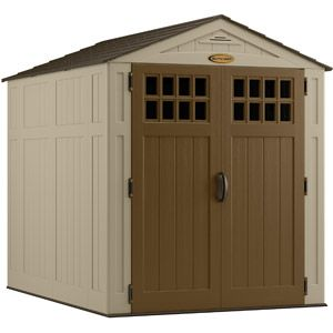 Suncast 6' x 8' Blow-Molded Shed, Taupeand u can move it.most codes don't require permit or concrete base.for sheds under 12 x10.we will build wolmaized wood foundation and floor.