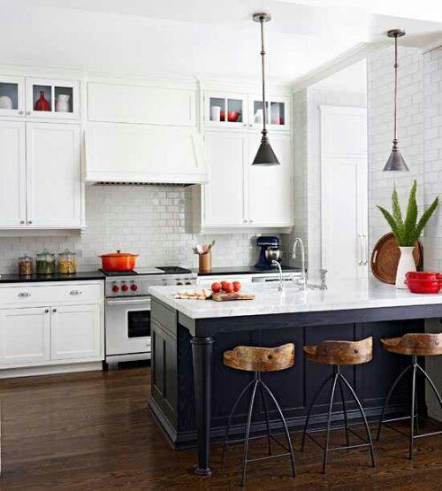 contemporary kitchen white cabinets and charcoal island unit