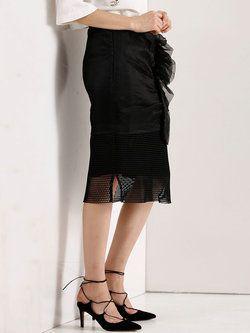 Black Outdoor Polyester Paneled #Midi #Skirt