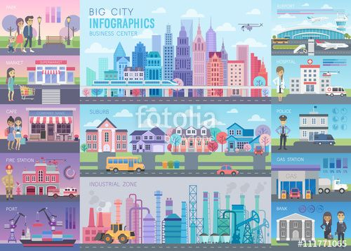 Vector: Big City Infographic set with charts and other elements.