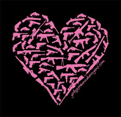 """The """"Girls Heart Guns"""" T-shirt is a women's cut shirt with a crafty heart made from guns design on the front. Check out GirlsJustWannaHaveGuns.com"""