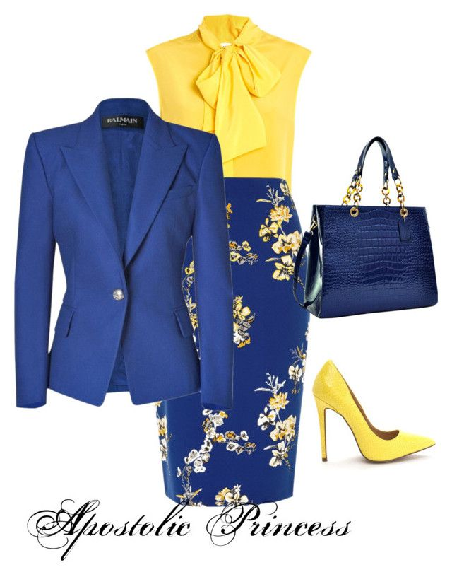 """Blue and Yellow"" by hisprincess2017 ❤ liked on Polyvore featuring Moschino, River Island, Balmain and Dasein"