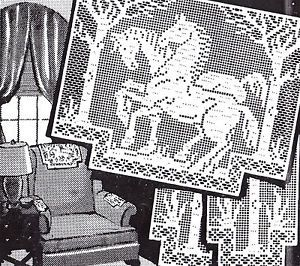 Vintage Filet Crochet Horse Horses Chair Set Pattern Reprint   eBay