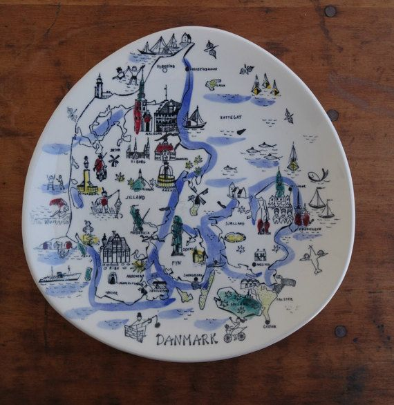 Wall plate Danmark Denmark illustration vintage hand-painted silkscreen Scandinavia plate wall decoration