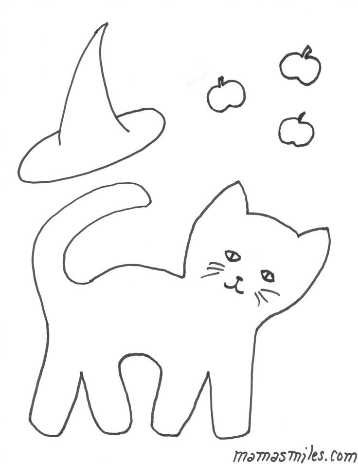 Free Halloween Coloring Pages - black cat, witch's hat, and candied apples. We…