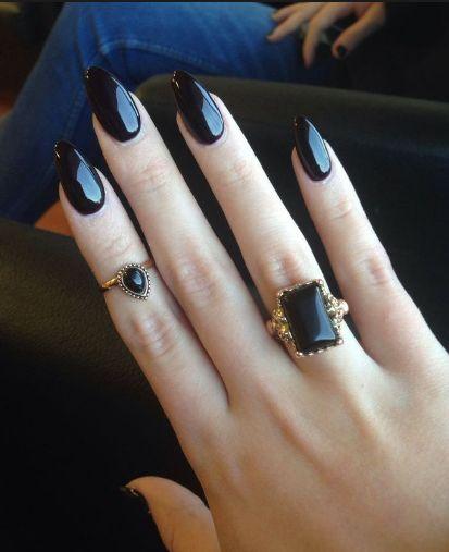 черные ногти, черные стилеты, кольца, nail design