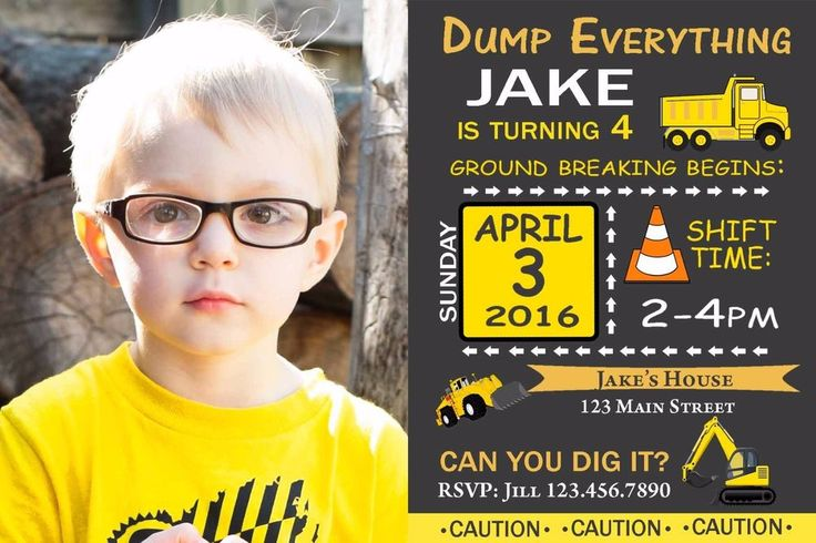 Construction Birthday Invitation, Dump Trucks, Invitations, Diggers, Birthday