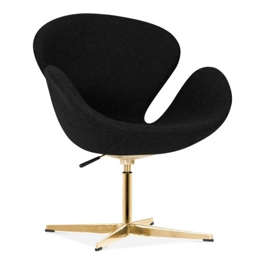 Cult Living Swan Chair in Black with Gold Finish Leg | Cult UK