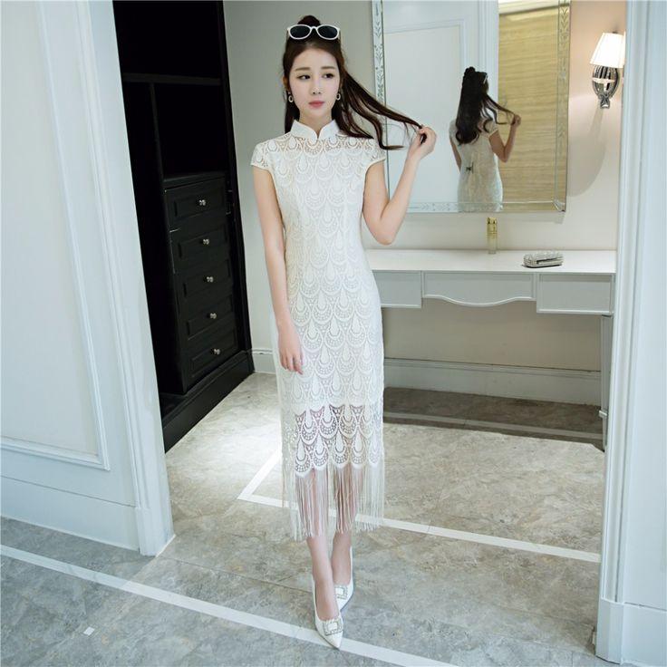 Livraison gratuite dentelle cheongsam moderne qipao robe genou longueur  chinois traditonal clothing robe robe pour femme