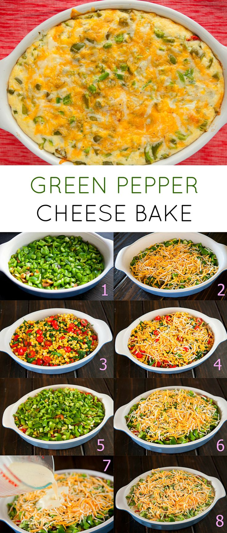 This Green Pepper Cheese Bake is a delicious comfort food recipe! It's also filled with vegetables: 2 pounds of green peppers, 1 cup of tomatoes, 2 cups of corn and 1 cup of spinach. Your family will love it!