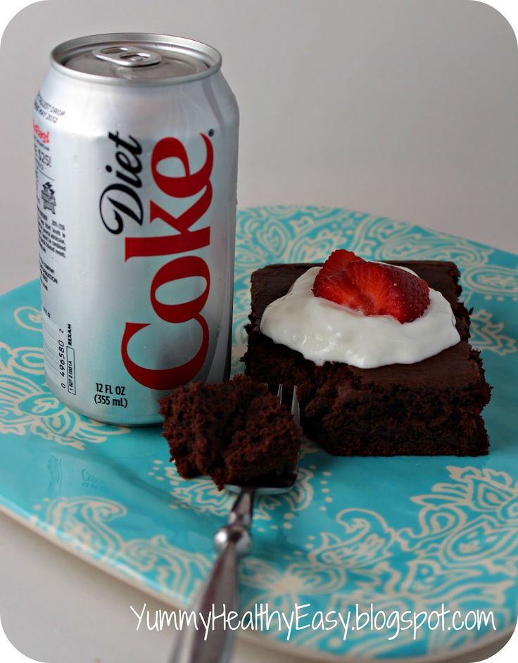 Oh. Wow. Never would I have thought that a Diet Soda + Cake Mix = a decadent, yet low fat CAKE! Consider my mind blown. Just by nixing the eggs and oil, you deduct many calories from the cake. But who would have thought that adding a can of my favorite diet soda to it instead of …