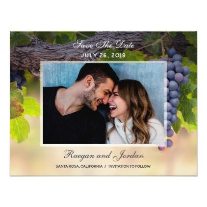 #Grapes on Vines Photo Save the Date Card - #weddinginvitations #wedding #invitations #party #card #cards #invitation #elegant