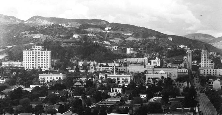 In this panorama photograph of Hollywood circa 1930s shows us a number of buildings that are still around. From left to right, we can see the Roosevelt Hotel, Grauman's Chinese Theatre, El Capitan Theatre, Hollywood United Methodist Church and the First National Bank Building with Highland Ave running between them, and closer to the camera is the Hollywood High School. That's a pretty good tally for an 80-year-old shot of Los Angeles!
