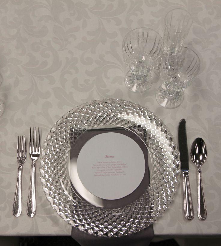 Wedding Scroll Table Linen, Cut Crystal Plate Liner, Regency Flatware, Bellini Grey Satin Napkin & Empire Crystal Glassware   Chair-man Mills Photography by: Debbie Kriz