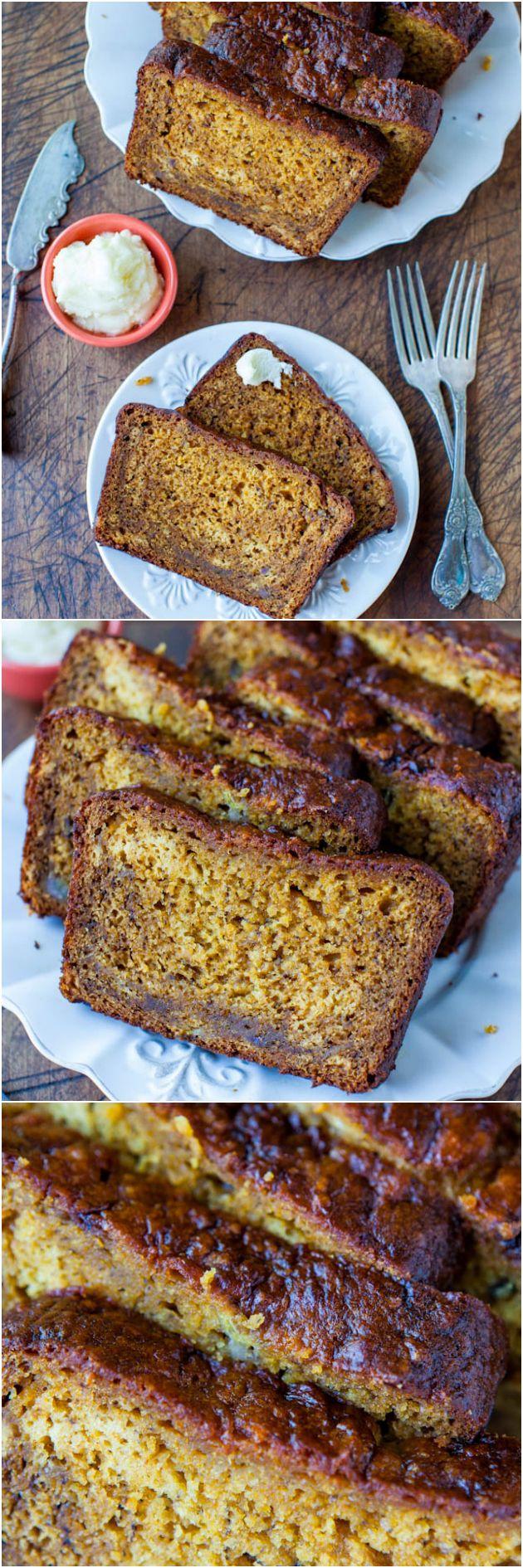 Calabaza Pan de plátano con bronceadas Mantequilla Queso Crema Frosting - Suave, suave y esponjosa y mucho mejor que otra rebanada de pan de plátano normal!