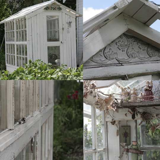 What better way to recycle old salvaged windows than to build them into a unique  garden greenhouse or potting shed? Old windows, door...