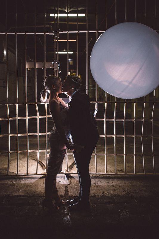 Engagament LGBT balloon cute sweet kiss industrial cool girl wedding Melbourne Australia photographer