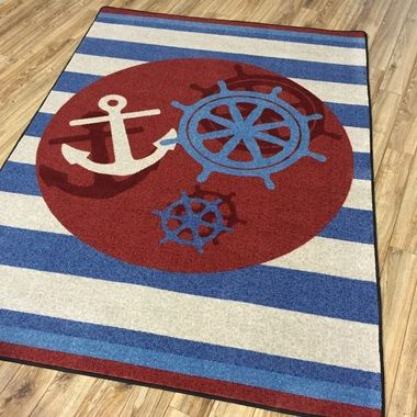 High Quality Ahoy There Nautical Rugs Shapes Sizes