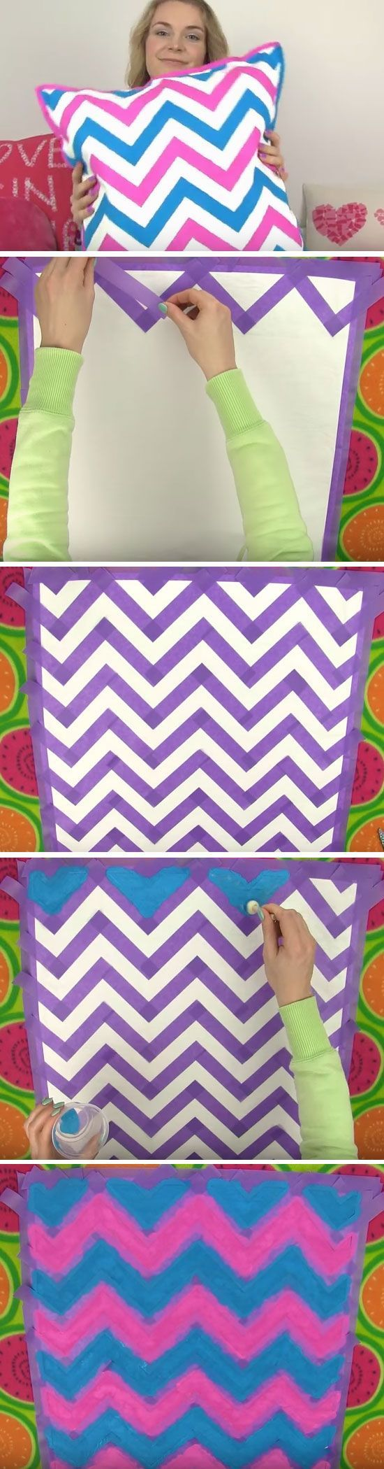 Chevron Cushion | Cool DIY Projects for Teen Girls Bedrooms