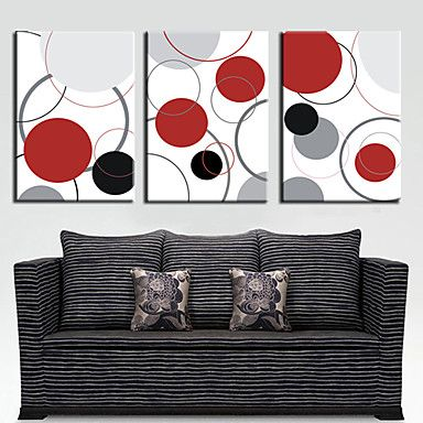Stretched Canvas Art Abstract Colorful Circles Set of 3 – USD $ 59.99