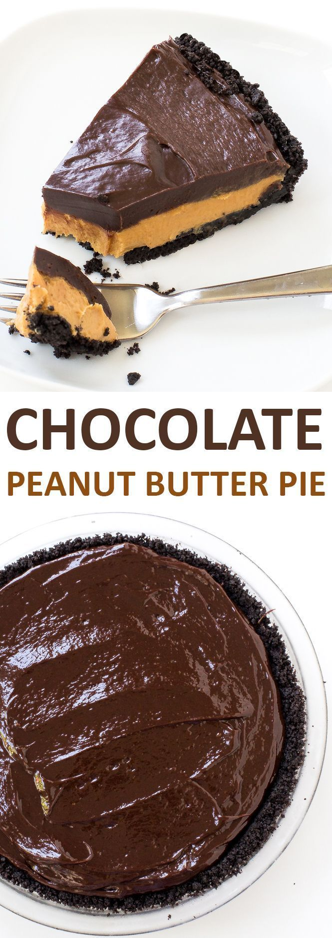 Super Easy No Bake Chocolate Peanut Butter Pie. Oreo Cookie Crust layered with a peanut butter filling and chocolate ganache! | chefsavvy.com #recipe #chocolate #peanut #dessert