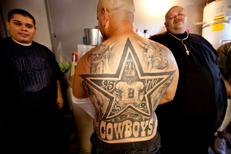 Enemy Of Most Wanted Familia With Dallas Cowboys Tattoo On Back