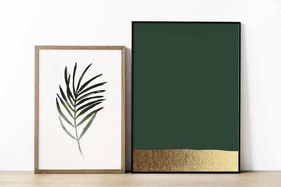 Dark Green Art Print Hunter Green Print Green And Gold Prints Modern Art Print Green Painting Abstract Art Gold Wall Art Green Art Print Green Paintings