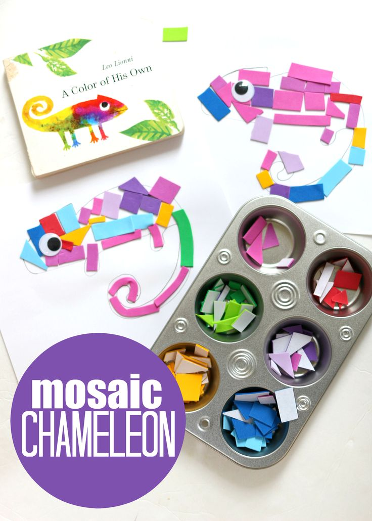 A Color Of His Own Inspired book inspired craft for kids to make! A mosaic chameleon!