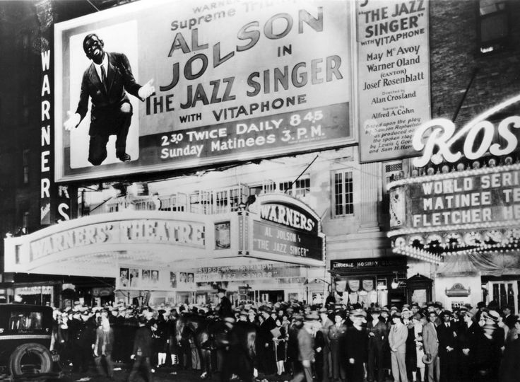 "I usually feature vintage photos of Los Angeles and Hollywood but today I'm doing a bit of a cheat, but it's Hollywood-related so I'm sure you'll forgive me. It's a photo of the Warners' Theatre at 1664 Broadway in New York during the original run of ""The Jazz Singer"" in 1927. You can by the crowds spilling out on the sidewalk what a sensation the film was. What surprises me is that they only had two sessions a day, at 2.30pm and 8.45pm, with a 3pm matinee on Sundays. Say what??? Warner…"