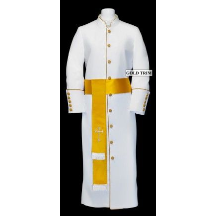 182 W. Women\u0027s Pastor/Clergy Robe , White/Gold Cincture Set